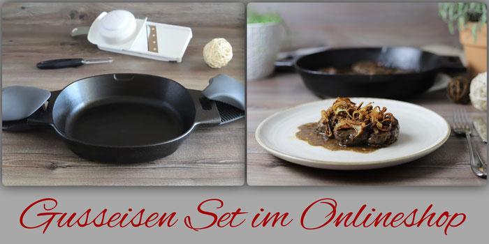Gusseisen Set von Pampered Chef mit gusseiserner Pfanne, Gemüseschäler, Hobel und Packs an Handschuhe online bestellen