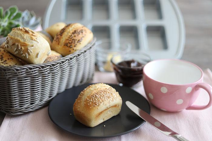 Übernacht-Brötchen mit Übernachtgare in der Mini-Kuchen Form aus dem Pampered Chef Onlineshop