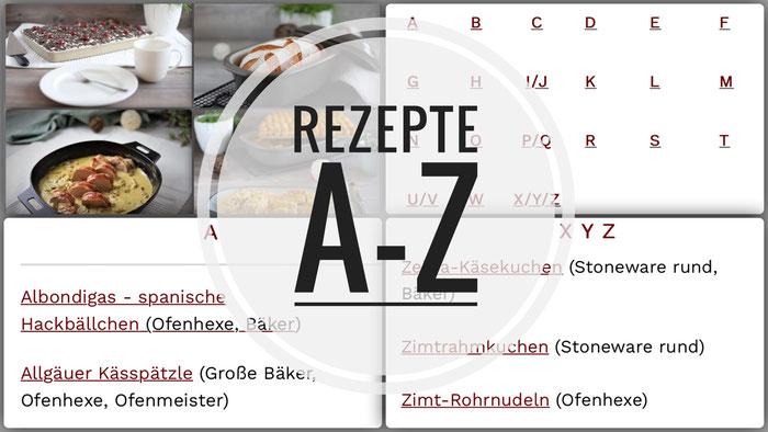 Pampered Chef Rezepte Rezepte von A-Z, Rezeptsammlung für Zauberstein, Ofenmeister, Zaubermeister, Ofenzauberer, Ofenhexe, Grundset und Bäker, Ofenzauberei mit Pampered Chef mit Onlineshop