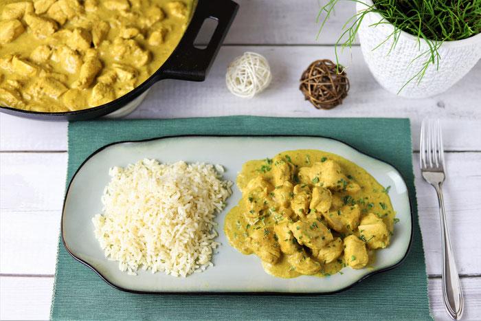 Indisches Curry mit Hähnchen Chicken aus der gusseisernen Pfanne von Pampered Chef im Onlineshop