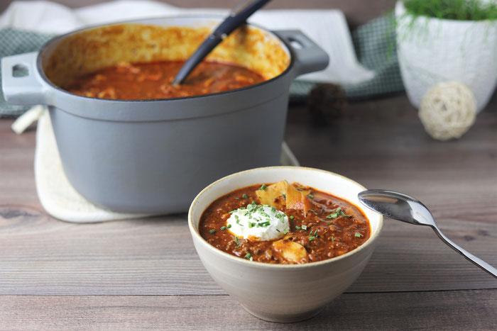 Partytopf Eintopf oder Lasagne Suppe im gusseisernen Topf von Pampered Chef im Onlineshop