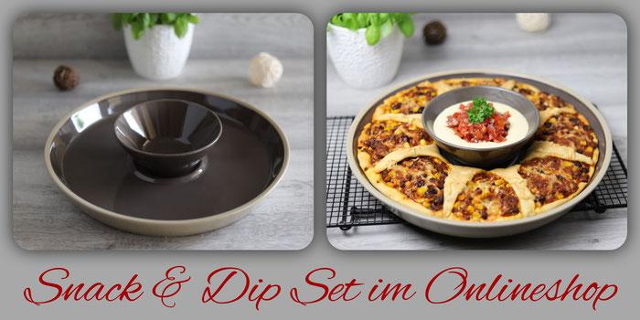 Snack & Dip Set Stoneware mit runder Servierplatte von Pampered Chef im Onlineshop bestellen