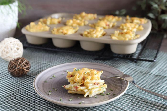 Makkaroni-Speck-Küchlein oder Makkaroni-Muffins im 12-er Snack Muffinform von Pampere Chef