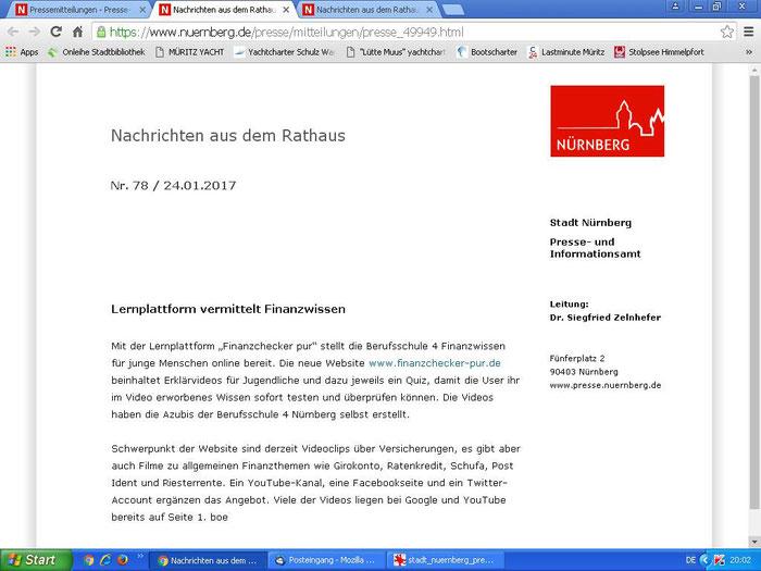 finanzchecker-pur.de: Pressemeldung der Stadt Nürnberg über unser Projekt (24.01.2017)