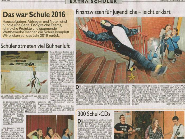 finanzchecker-pur.de: Erwähnung unseres Projekts im Jahresrückblick der Nürnberger Nachrichten (02.01.2017, S.38)