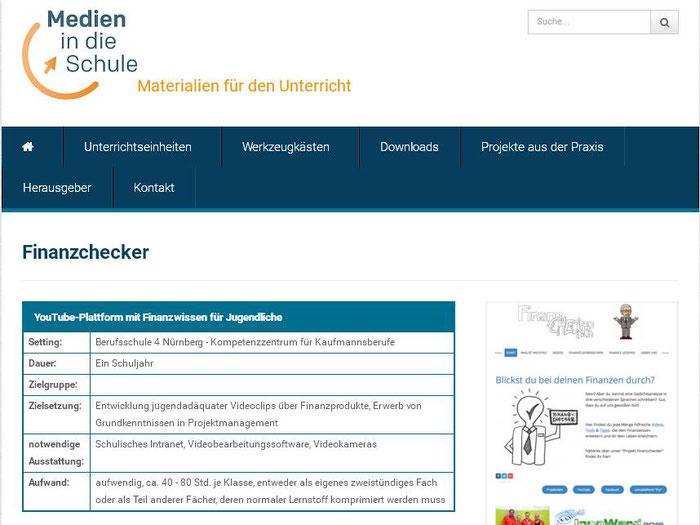 """finanzchecker-pur.de: Beschreibung unseres """"Vorzeigeprojekts"""" auf einer bekannten Lehrerplattform (Screenshot 11.01.2017)"""