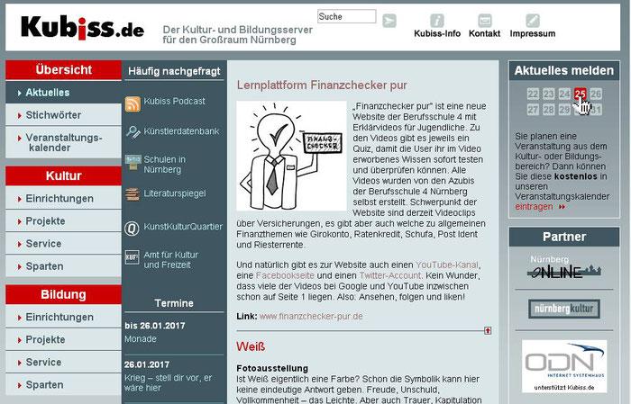 finanzchecker-pur.de: Hinweis auf unser Projekt auf dem Nürnberger Kultur- und Bildungsserver kubiss.de (Screenshot vom 27.01.2017)
