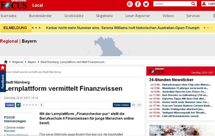 """finanzchecker-pur.de: Hinweis auf unsere Website bei """"Focus online"""" Bayern regional (Screenshot vom 28.01.2017)"""