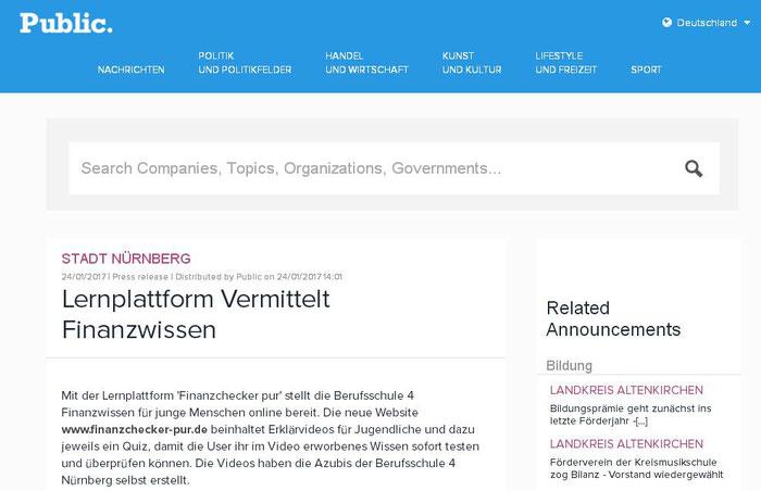 finanzchecker-pur.de: Hinweis auf unser Projekt bei Public now - einer Nachrichtenplattform im Internet (Screenshot vom 28.01.2017)