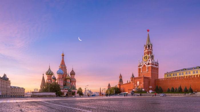 Russie, Moscou. La Place Rouge, la cathédrale Basile le Bienheureux, le Kremlin