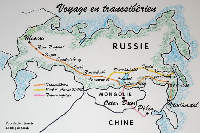 carte des trajets en train transsibérien - Le blog de Sarah