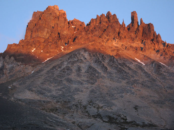 Sunset at Cerro Castillo viewed from the rear, Aysen, Patagonia, Chile