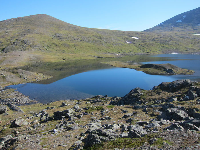 View from campsite at Tjagnarisjavrasj, Sarek