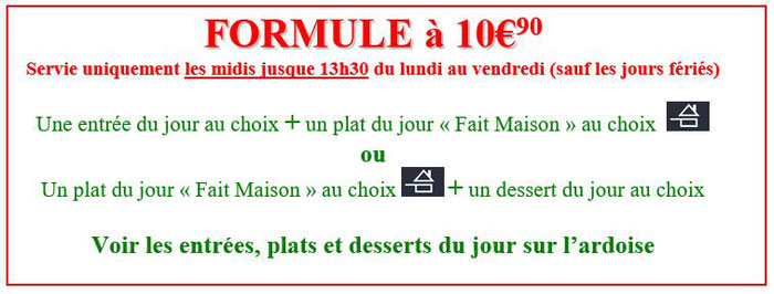 menu à 10,90 euros plat du jour crudités oeufs durs