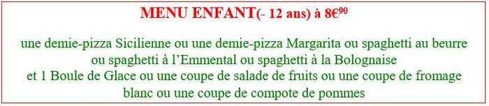 menu enfant à 7,50 euros spaghetti à la bolognaise mousse au chocolat