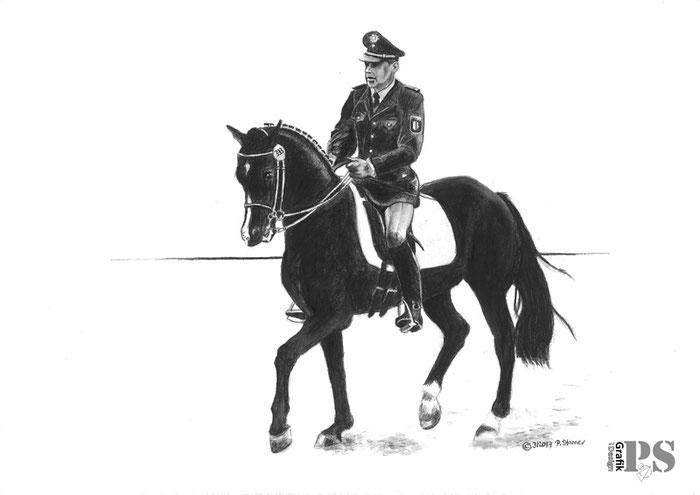 Standardzeichnung Pferd und Reiter