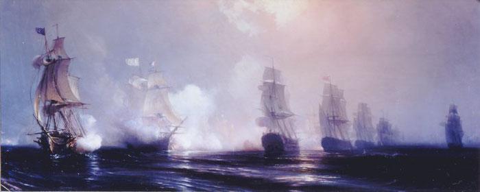 """Document 1_ Gudin, La bataille de Chesapeake, musée national de Versailles. A droite, l'escadre anglaise de l'amiral Graves défile le long de la flotte française dont le vaisseau du comte de Grasse """"ville de Paris"""" canons tonnant."""
