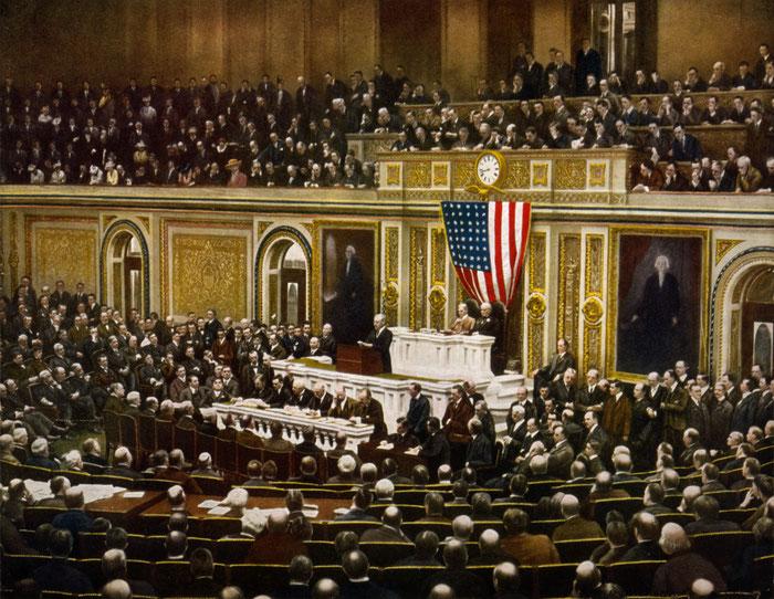 Document 2 b_ Discours au Congrès des Etats-Unis du président Wilson le 2 avril 1917. Le Congrès votera la guerre le 6 avril.