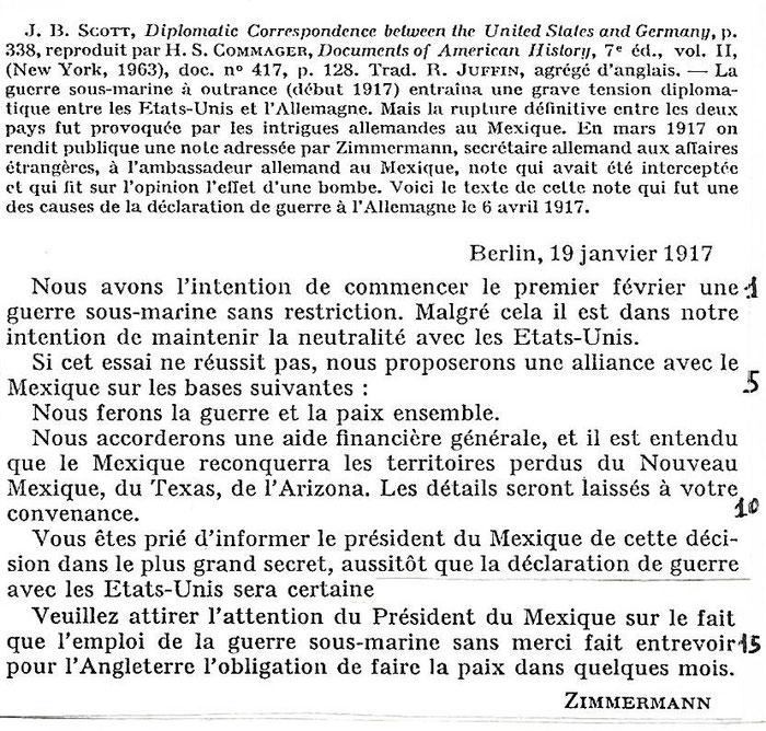 Document 3_ la note du secrétaire d'Etat allemand à l'ambassadeur allemand au Mexique. Chaulanges