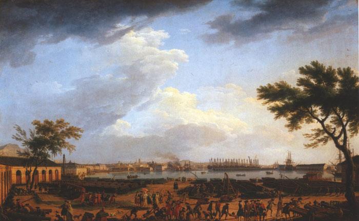 Document 2_Joseph Vernet, Toulon, vue du port-neuf, 1754, musée national de la marine, Paris. Ce grand peintre de marines a exécuté une commande du Roi Louis XV  pour représenter les grands ports français.