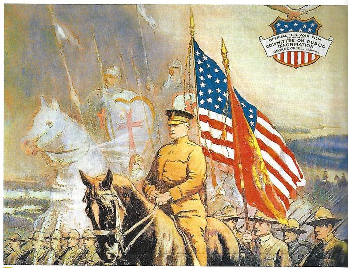 Document 6_les croisés de Pershing, affiche d'un film de guerre du gouvernement américain. Belin Histoire Terminale 2011