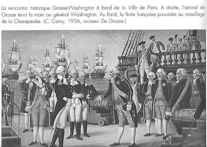 """Document 6_ Rencontre entre le général G. Washington (1m94) et l'amiral de Grasse (plus de 2m) sur le vaisseau français """"la ville de Paris"""" le 17 septembre 1781. Peinture dans le salon du croiseur français de Grasse dans les années 1960-70"""