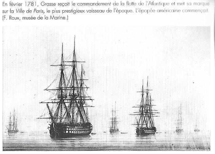"""Document 5_ Le vaisseau à trois ponts et 104 canons du comte de Grasse, """"la ville de Paris"""""""