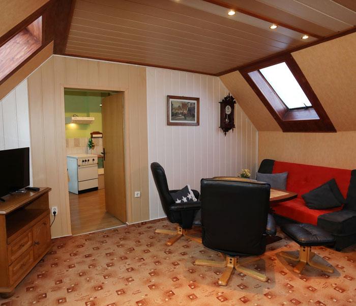 Wohnzimmer mit Schlafcouch-Ferienwohnung