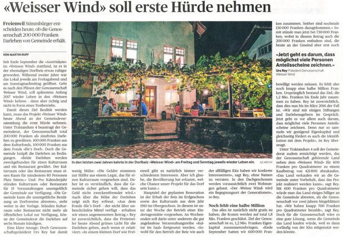 Badener Tagblatt, 20. Nov. 2015