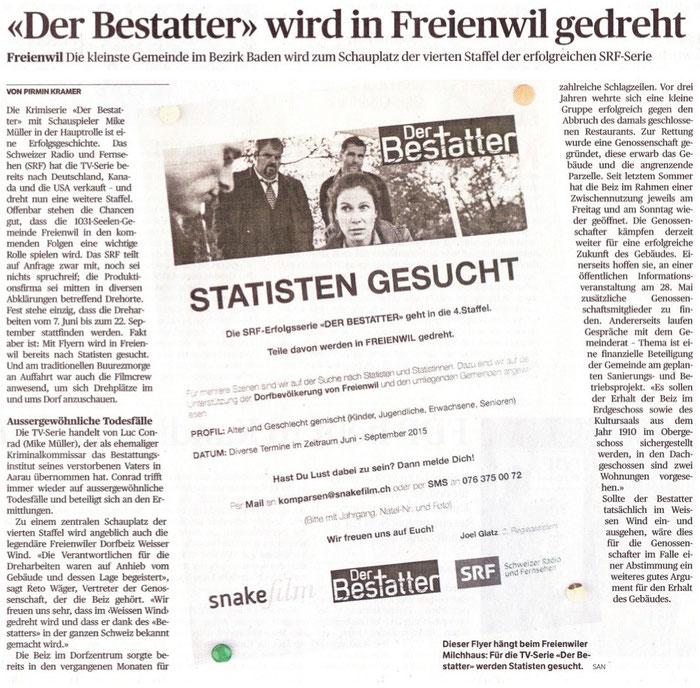 Badener Tagblatt, 20. Mai 2015