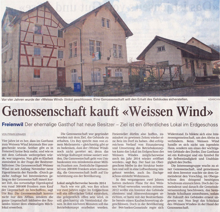 Aargauer Zeitung, 15. Nov. 2013