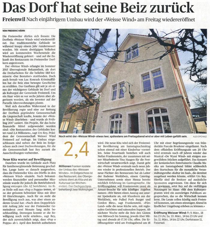 Badener Tagblatt, 7. März 2018