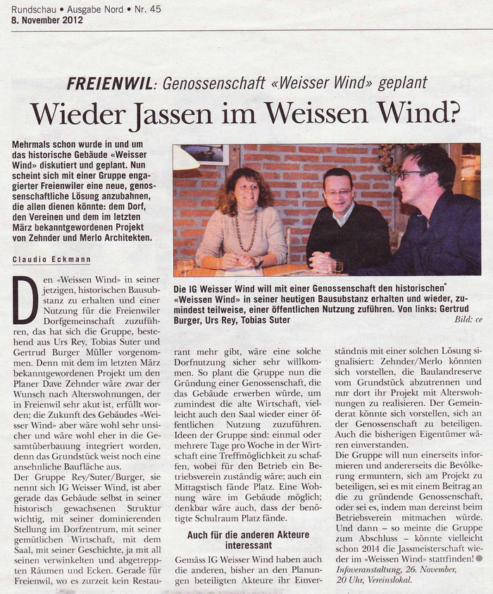 Rundschau, 8. Nov. 2012