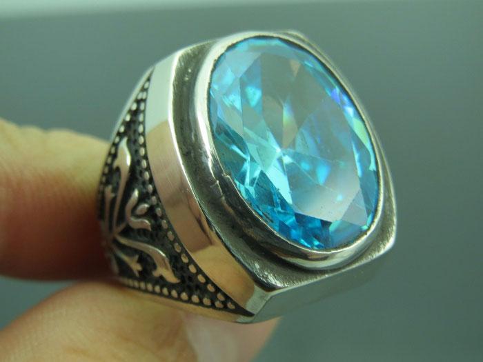 кольцо мужское с аквамарином в серебре