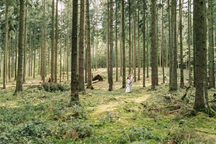 Das Paar in grüner Waldlandschaft, umgeben von Bäumen