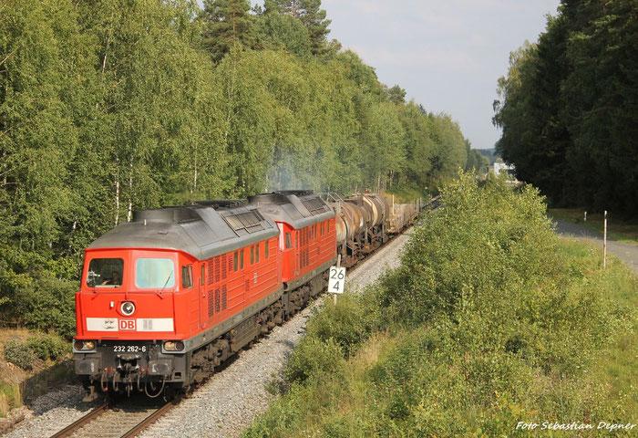 Am 10.8.12 Kamen 2  232er kurz nach Freihung (Bayern) nach Nürnberg.Das war ein Umleiter