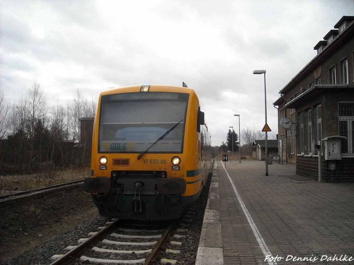ODEG VT 650.86 Im Bahnhof Mirow  Am 25.2.12
