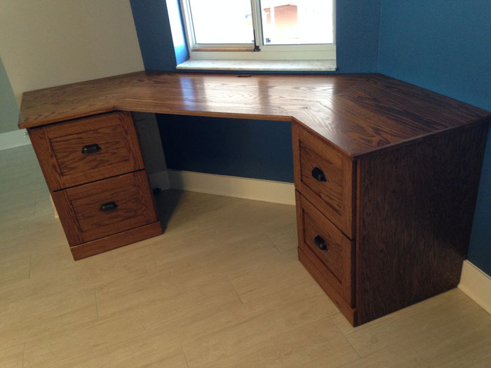 Unique shaped Oak desk for Condo.