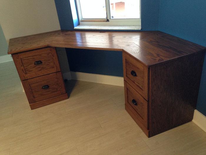 Unique shaped Oak desk for Condo.