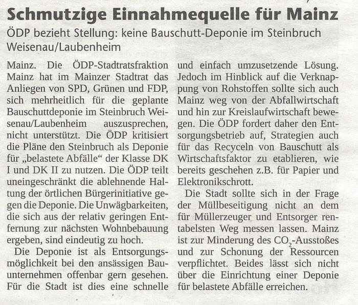 ÖDP - Die Schwalbe Informationen zur Landtagswahl 2016 in Rheinland-Pfalz - 04.03.2016