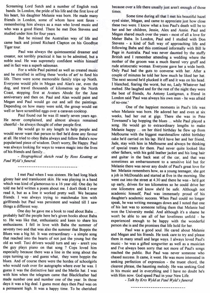 Meher Baba Australia newsletter -  April 1999