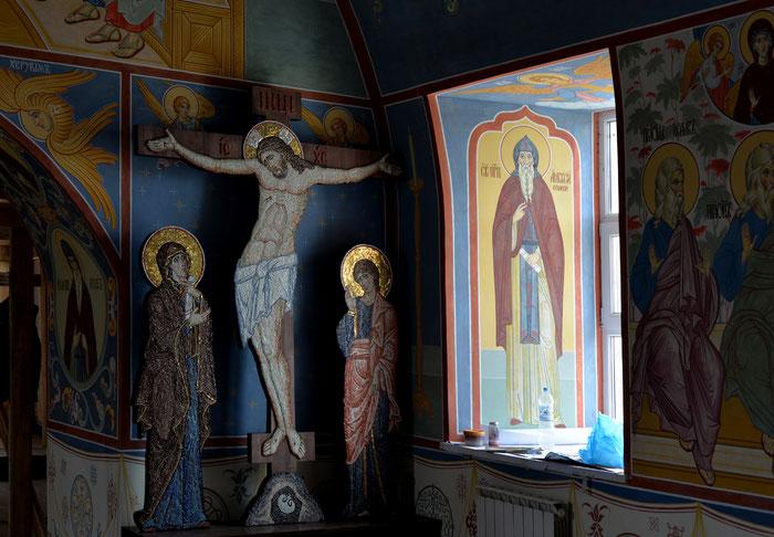 Крест Голгофа с предстоящими, 2015. Мозаичная мастерская Апостол