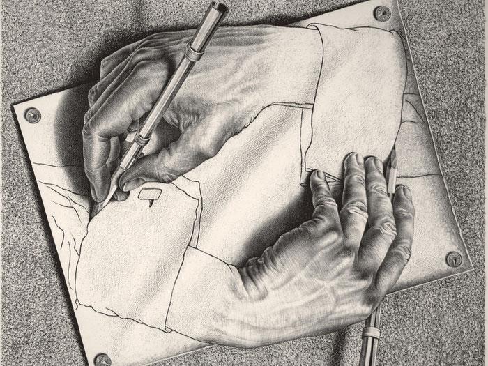 """M.C. Escher, """"Mani che disegnano"""" (1948)"""