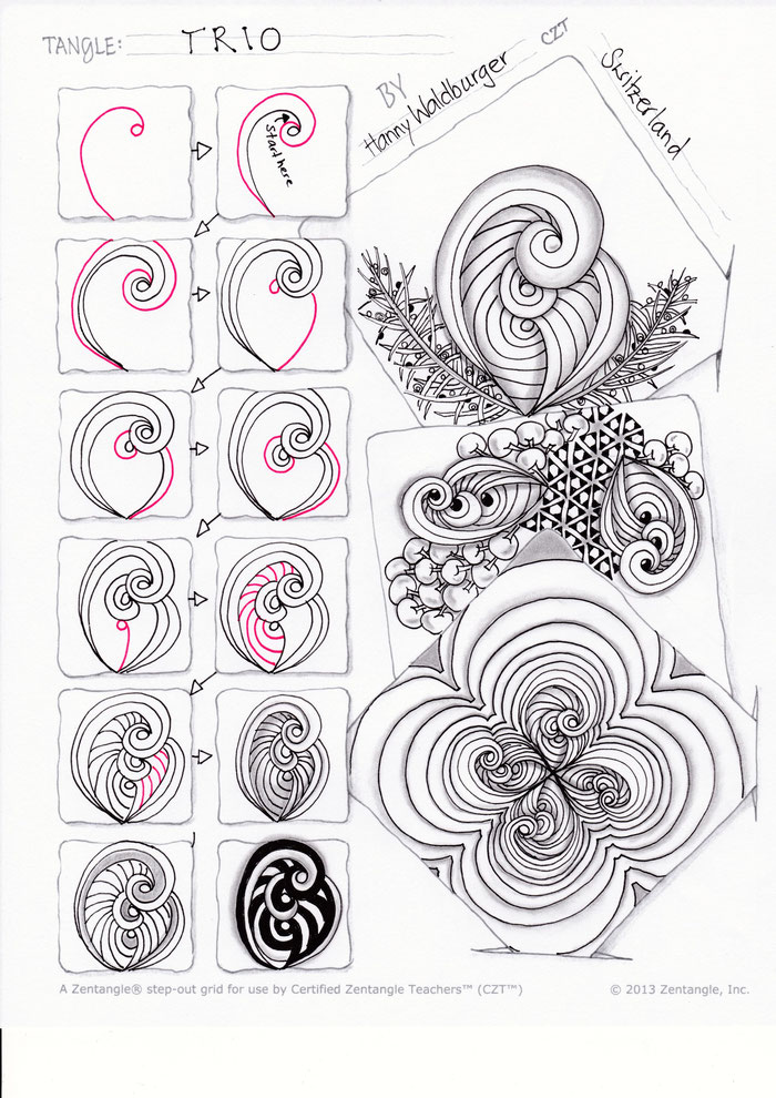 zentangle pattern trio by zenjoy