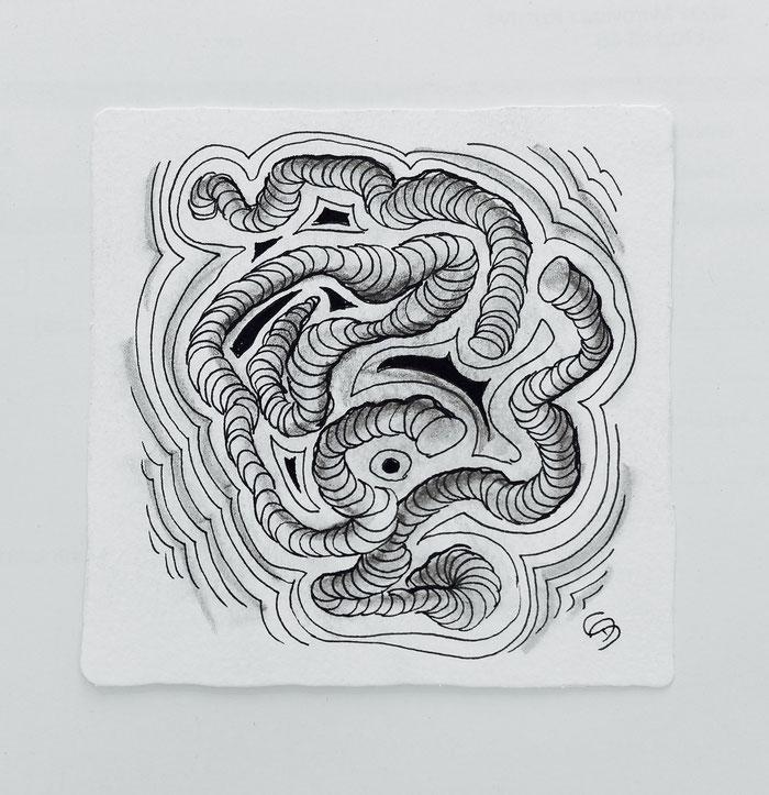"""""""A Zentangle® a day keeps stress away"""" :   Daniel's erstes Werk nach dem Zentangle® Team-Kurs"""