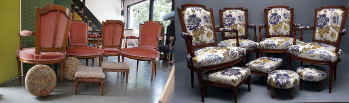 mrylinegrac- tapissier d'ameublement-quatre Fauteuils et tabourets