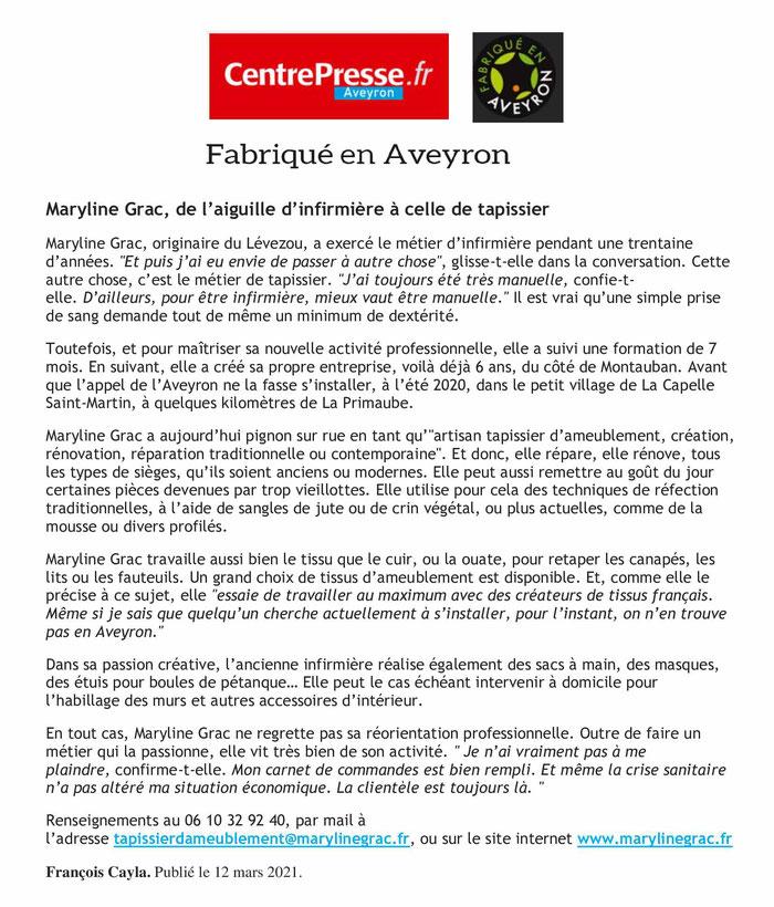 marylinegrac- tapissier d'ameublement-Fabriqué en Aveyron - Centre Presse 2021