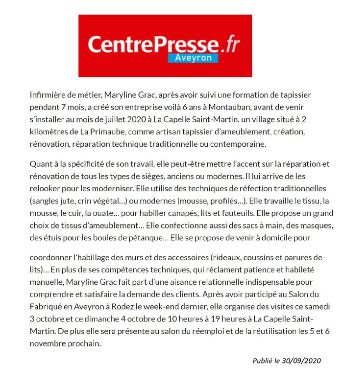 marylinegrac- tapissier d'ameublement-Article Centre Presse