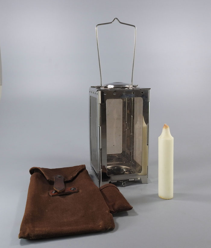 1920's SWISS ARMY FOLDING CANDLE LANTERN WITH CANVAS-LEATHER POUCH