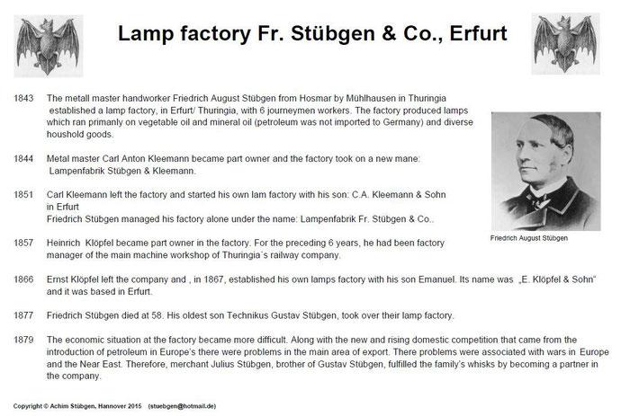 Lamp Factory Fr. Stübgen & Co., Erfurt - History of the Stübgen Kerosene lanterns and Bat Lanterns